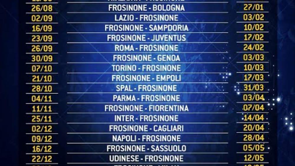 Calendario Partite Seria A.Frosinone Calcio Uscito Il Calendario Della Serie A